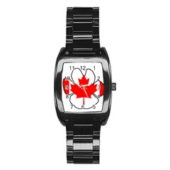 Mega Paw Canadian Flag Stainless Steel Barrel Watch