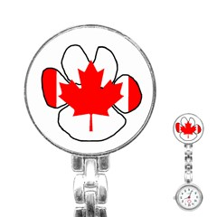 Mega Paw Canadian Flag Stainless Steel Nurses Watch