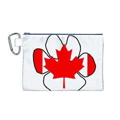 Mega Paw Canadian Flag Canvas Cosmetic Bag (M)