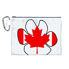 Mega Paw Canadian Flag Canvas Cosmetic Bag (L)