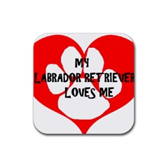 My Lab Loves Me Rubber Square Coaster (4 pack)