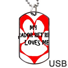 My Lab Loves Me Dog Tag USB Flash (One Side)