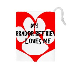 My Lab Loves Me Drawstring Pouches (Large)