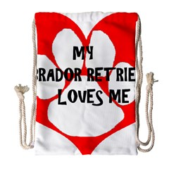 My Lab Loves Me Drawstring Bag (Large)