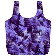 Purple Paint Strokes Full Print Recycle Bags (L)