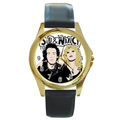 Sid and Nancy Round Gold Metal Watch