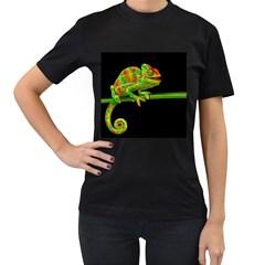 Chameleons Women s T-Shirt (Black) (Two Sided)