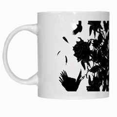 Black roses and ravens  White Mugs