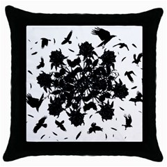 Black roses and ravens  Throw Pillow Case (Black)