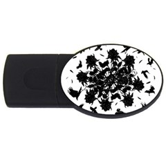 Black roses and ravens  USB Flash Drive Oval (2 GB)