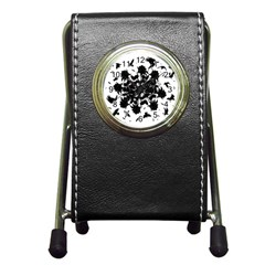 Black roses and ravens  Pen Holder Desk Clocks