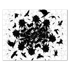 Black roses and ravens  Rectangular Jigsaw Puzzl