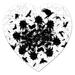 Black roses and ravens  Jigsaw Puzzle (Heart)