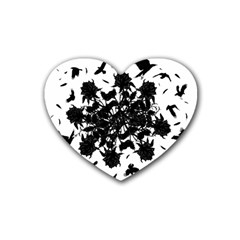 Black roses and ravens  Rubber Coaster (Heart)