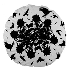 Black roses and ravens  Large 18  Premium Round Cushions