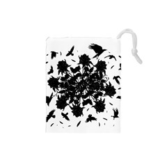 Black roses and ravens  Drawstring Pouches (Small)