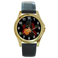Puli dog - Slash  Round Gold Metal Watch