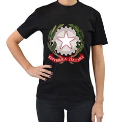 Emblem of Italy Women s T-Shirt (Black) (Two Sided)