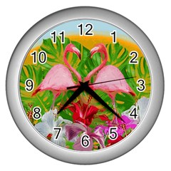 Flamingo Wall Clocks (Silver)