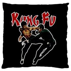 Kung Fu  Large Flano Cushion Case (One Side)