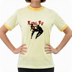 Kung Fu  Women s Fitted Ringer T-Shirts