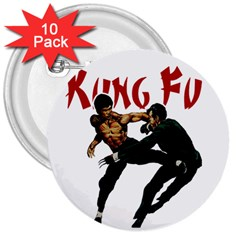 Kung Fu  3  Buttons (10 pack)