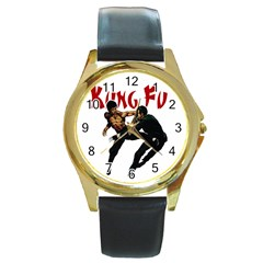 Kung Fu  Round Gold Metal Watch