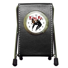 Kung Fu  Pen Holder Desk Clocks