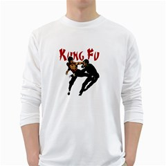 Kung Fu  White Long Sleeve T-Shirts