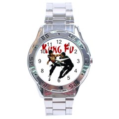 Kung Fu  Stainless Steel Analogue Watch