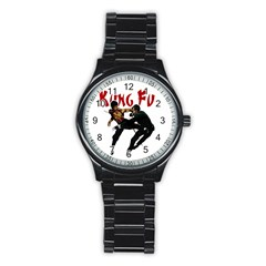 Kung Fu  Stainless Steel Round Watch