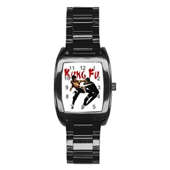 Kung Fu  Stainless Steel Barrel Watch