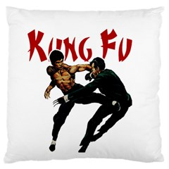 Kung Fu  Large Flano Cushion Case (One Side)