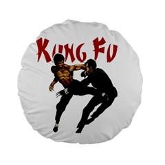 Kung Fu  Standard 15  Premium Flano Round Cushions