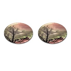 Fantasy Landscape Illustration Cufflinks (Oval)