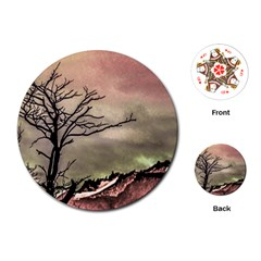 Fantasy Landscape Illustration Playing Cards (Round)