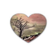Fantasy Landscape Illustration Rubber Coaster (Heart)