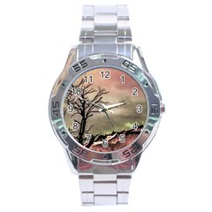 Fantasy Landscape Illustration Stainless Steel Analogue Watch
