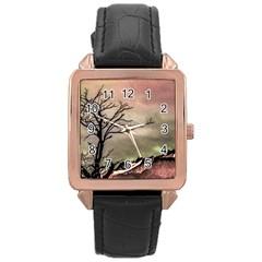 Fantasy Landscape Illustration Rose Gold Leather Watch