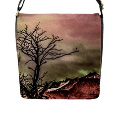 Fantasy Landscape Illustration Flap Messenger Bag (L)