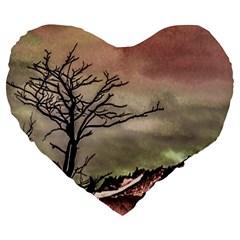 Fantasy Landscape Illustration Large 19  Premium Flano Heart Shape Cushions