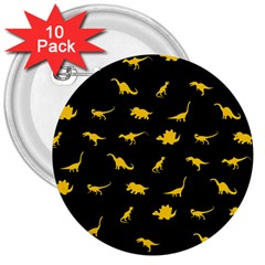 Dinosaurs pattern 3  Buttons (10 pack)