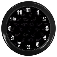 Dinosaurs pattern Wall Clocks (Black)