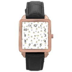 Cactus pattern Rose Gold Leather Watch