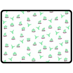 Cactus pattern Double Sided Fleece Blanket (Large)