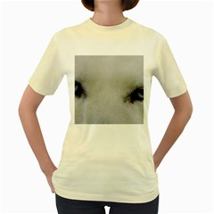 Akita Inu White Eyes Women s Yellow T-Shirt