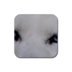 Akita Inu White Eyes Rubber Square Coaster (4 pack)