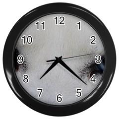 Akita Inu White Eyes Wall Clocks (Black)