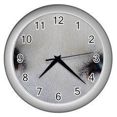 Akita Inu White Eyes Wall Clocks (Silver)