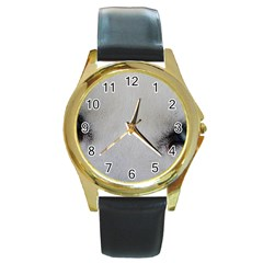 Akita Inu White Eyes Round Gold Metal Watch